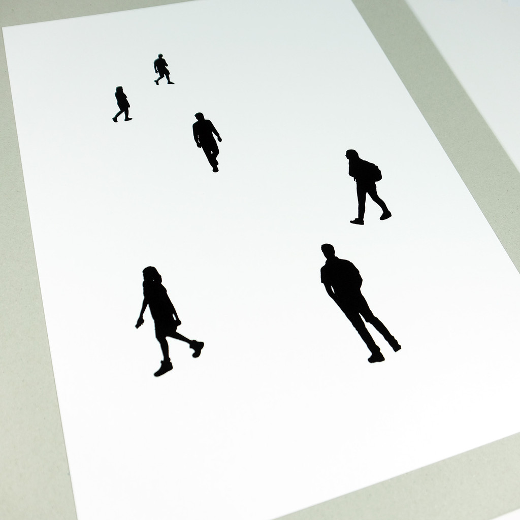 Black silhouette people screen print by Jacky Al-Samarraie