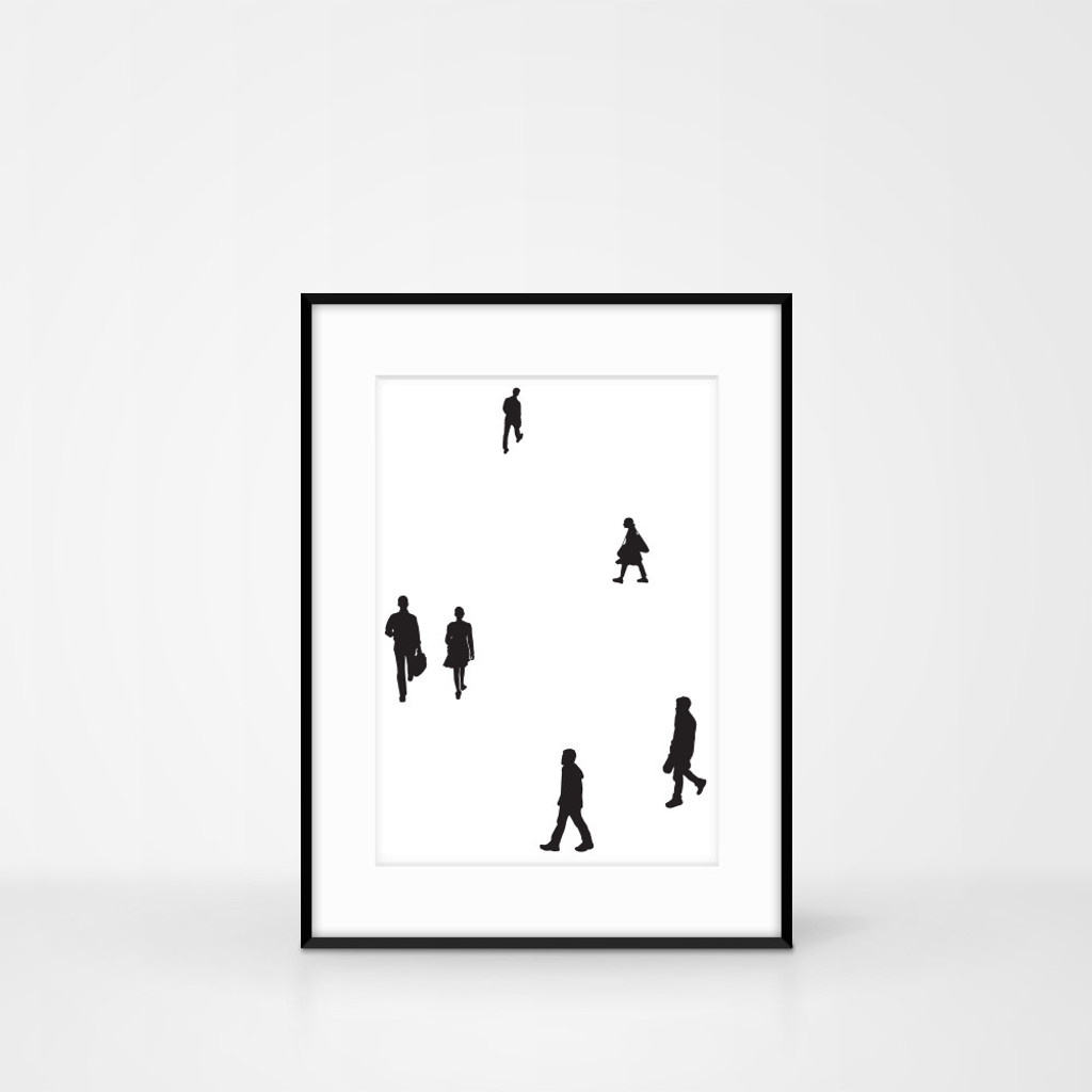 Silhouette people screen-print by Jacky Al-Samarraie.