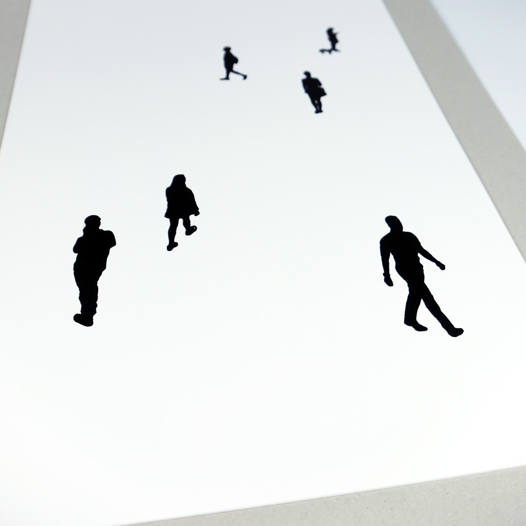 Close up of people screenprint by Jacky Al-Samarraie