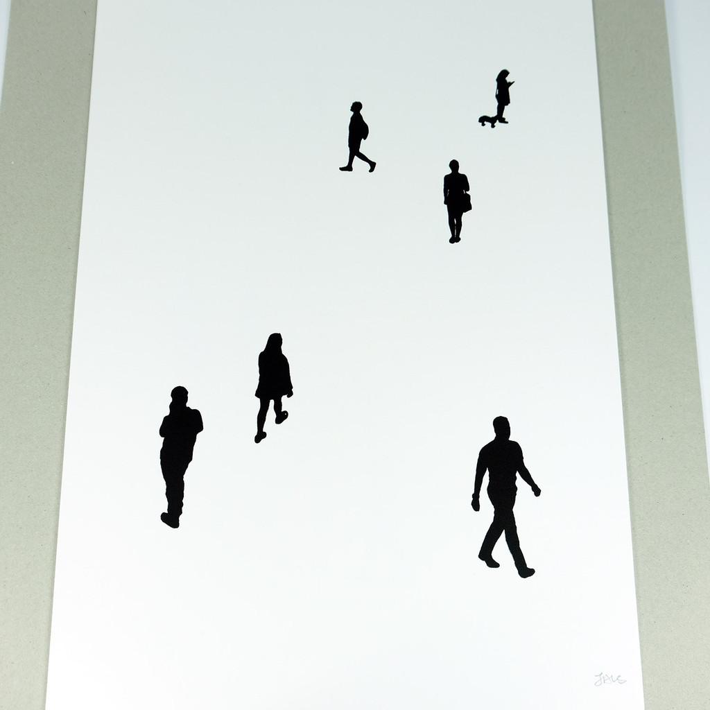 Black silhouette People print by Jacky Al-Samarraie