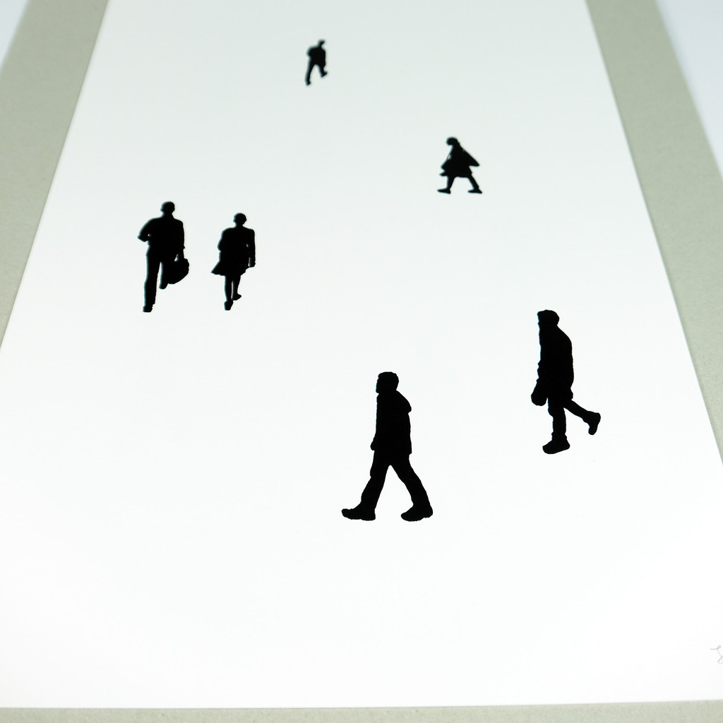 Close up of People Print No.2. Handmade screen-print by Jacky Al-Samarraie
