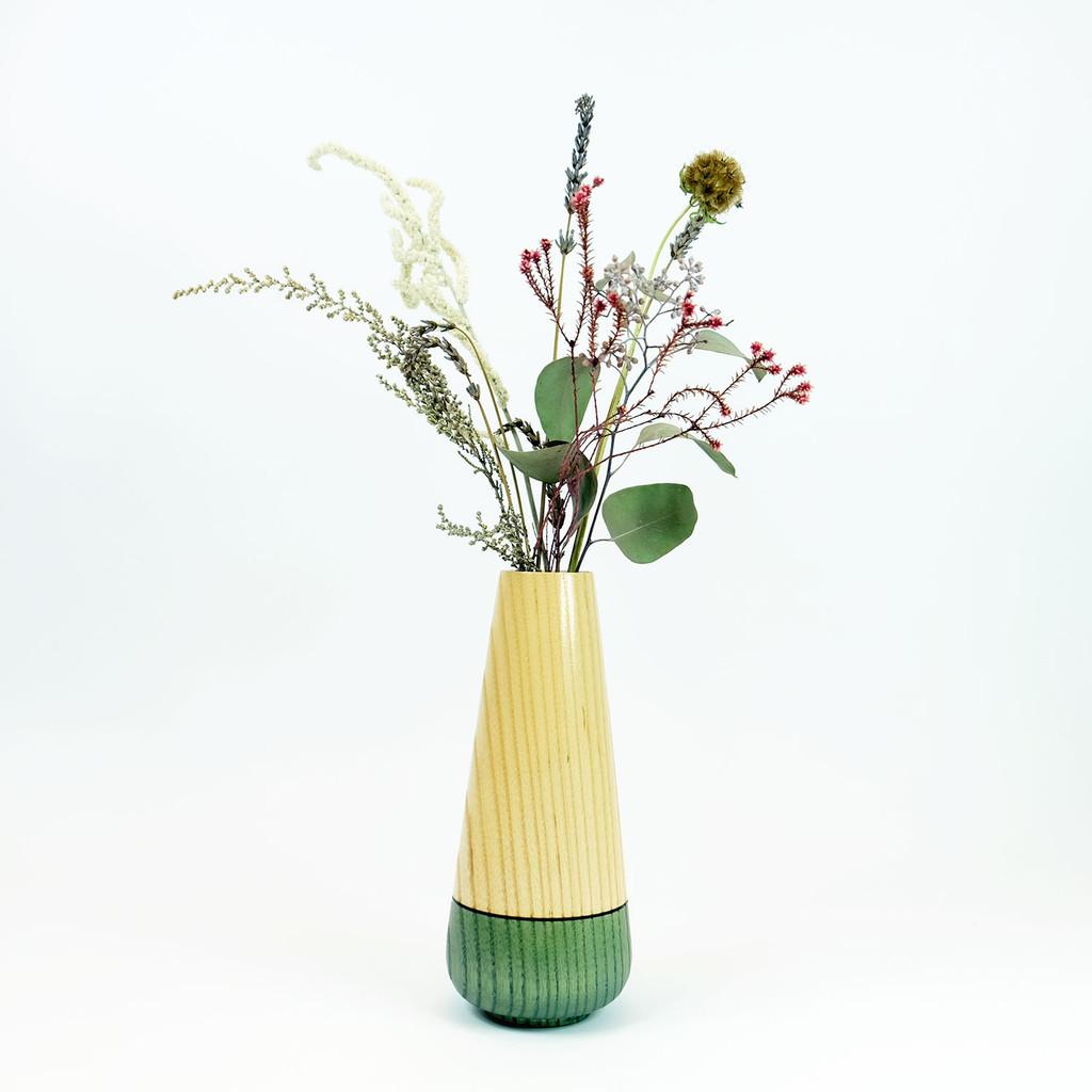 Teal tear drop wood stem vase by designer Jacky Al-Samarraie