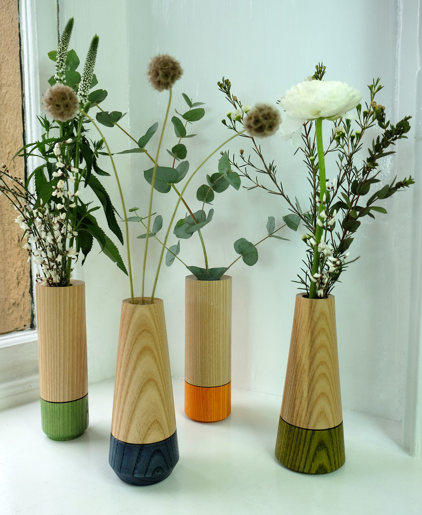 Wood Stem Vase Group