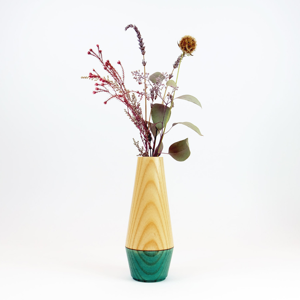 Teal Diamond shape wood stem vase by Jacky Al-Samarraie