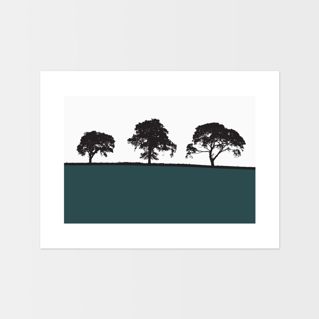Landscape print from Carlisle, Cumbria by designer Jacky Al-Samarraie.  The print is unframed and print colour is shown as teal but comes in many other colours.