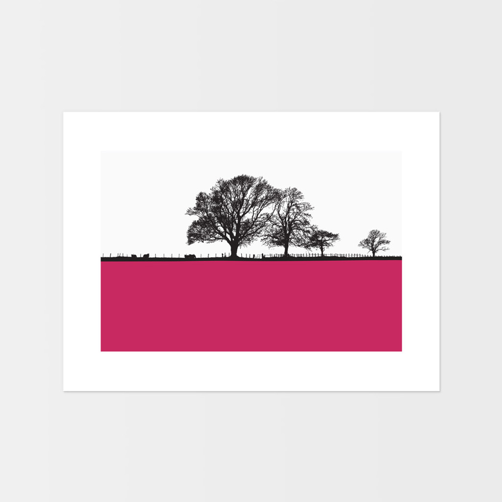 Cockermouth Cumbrian Landscape print by designer Jacky Al-Samarraie.  The print is unframed and print colour is shown as pink but comes in many other colours.