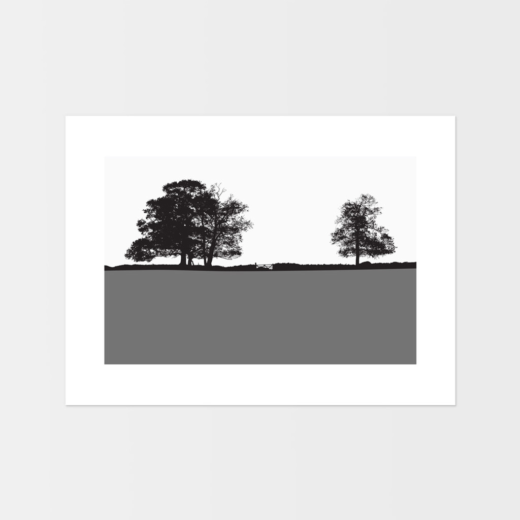 Windermere, Lake District Landscape print by designer Jacky Al-Samarraie.  The print is unframed and print colour is shown as grey but comes in many other colours.