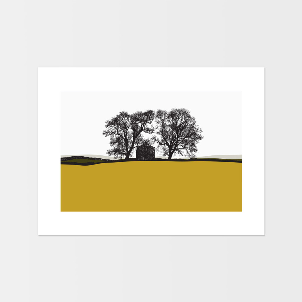 Landscape print from Conistone, Yorkshire Dales by Jacky Al-Samarraie. The print colour is mustard and dark green.