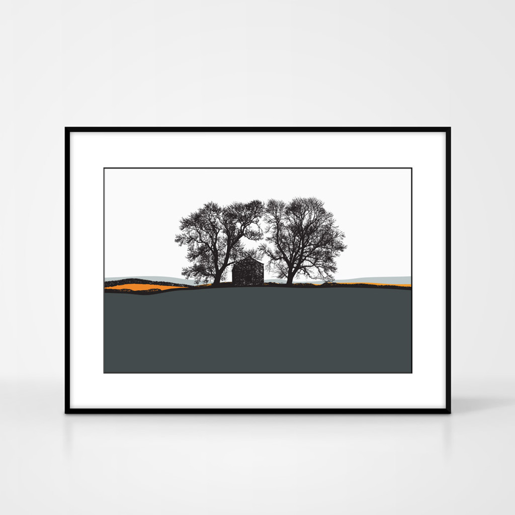Landscape print of Conistone in the Yorkshire Dales, England by designer Jacky Al-Samarraie.  The print colour is dark grey and orange.  The print is shown in a frame for reference but comes unframed.