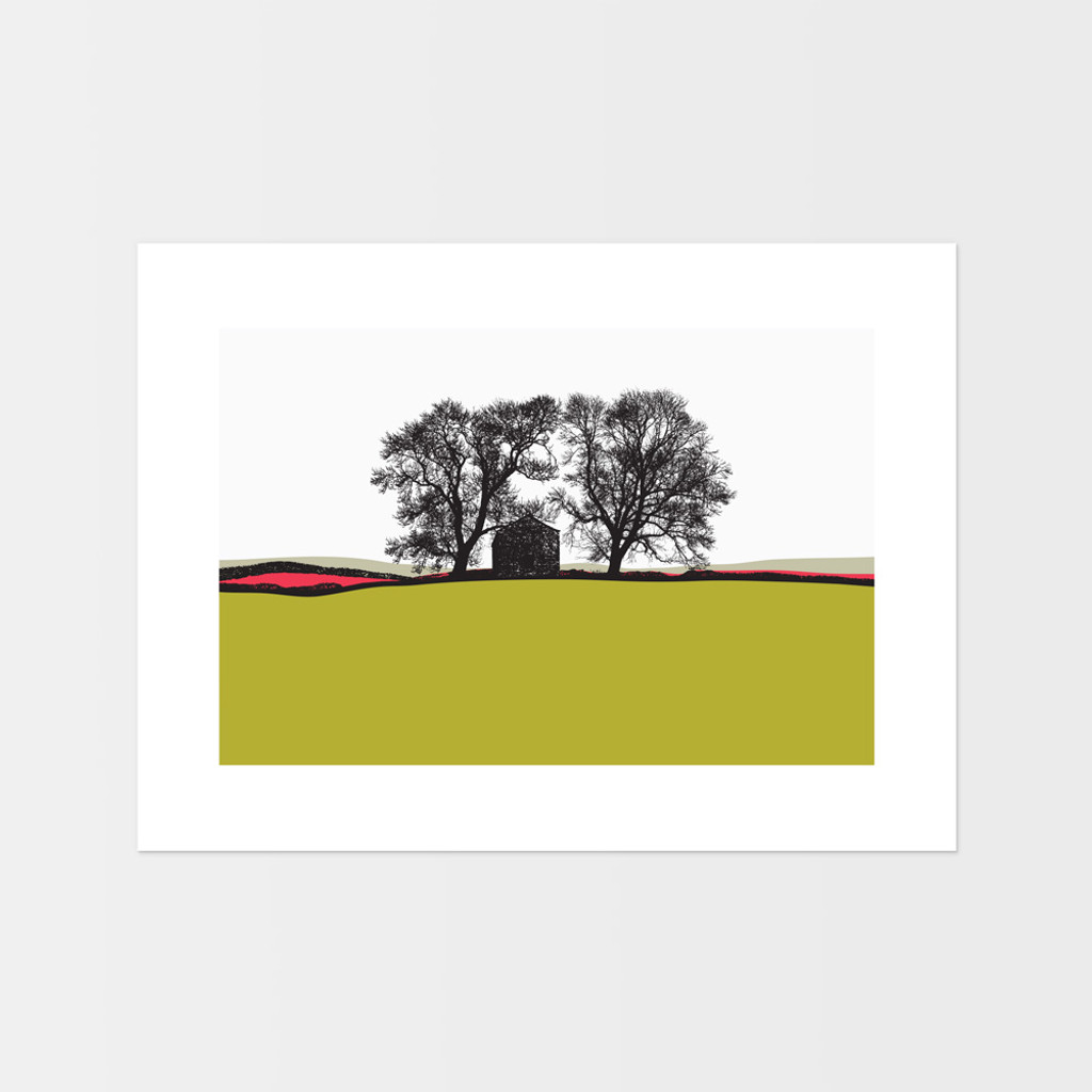 Landscape print from Conistone, Yorkshire Dales by Jacky Al-Samarraie. The print colour is lime green and pink.