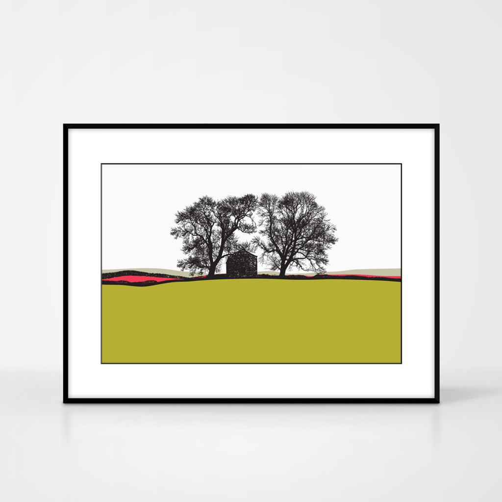 Landscape print of Conistone in the Yorkshire Dales, England by designer Jacky Al-Samarraie.  The print colour is lime green.  The print is shown in a frame for reference but comes unframed.