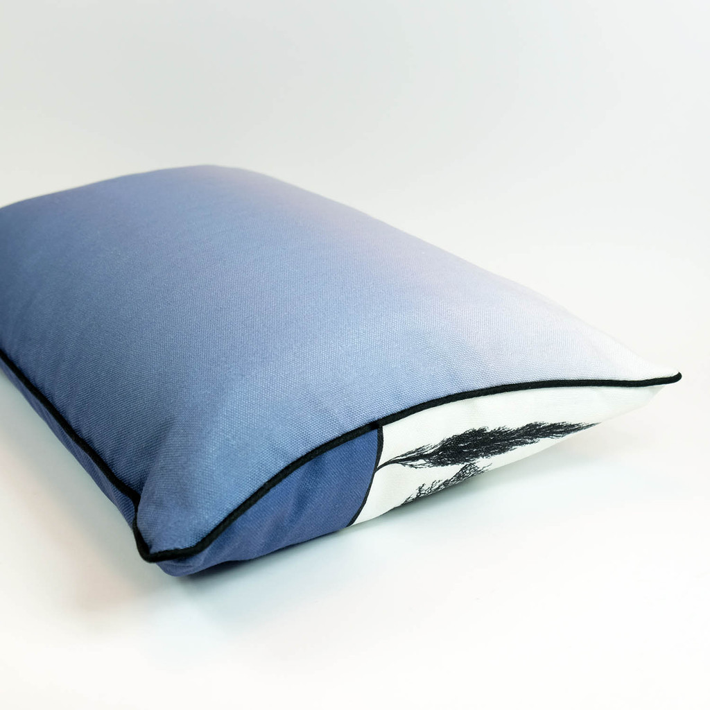 Blue English countryside landscape cushion with ombre back, by designer Jacky Al-Samarraie