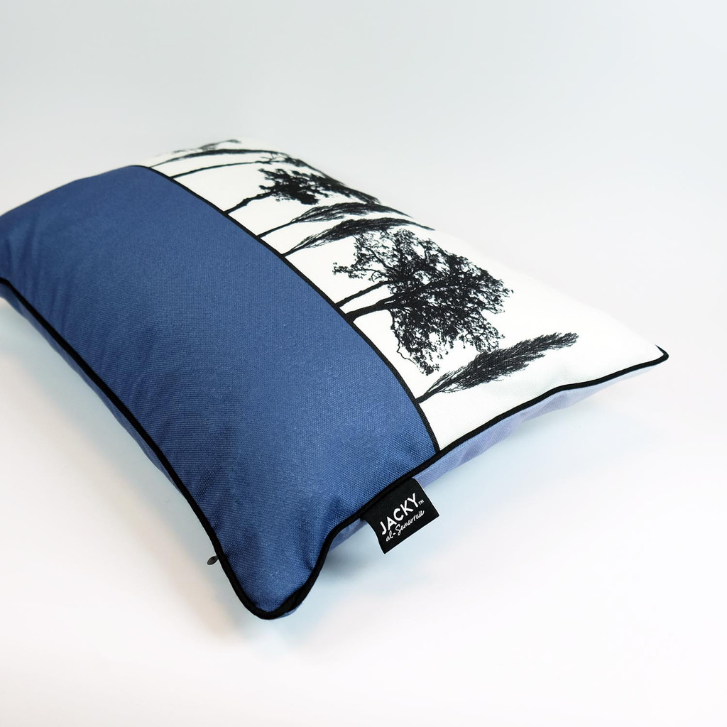 Side view of blue English countryside cushion by designer Jacky Al-Samarraie