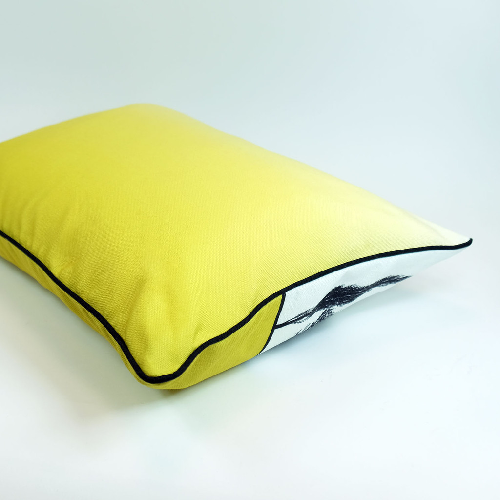Mustard English countryside landscape cushion with ombre back, by designer Jacky Al-Samarraie