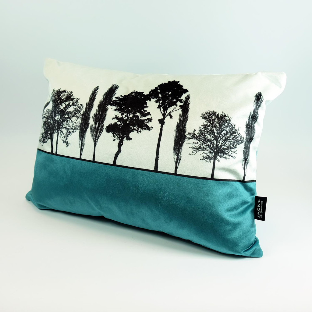 Teal Velvet Landscape cushion by Jacky Al-Samarraie