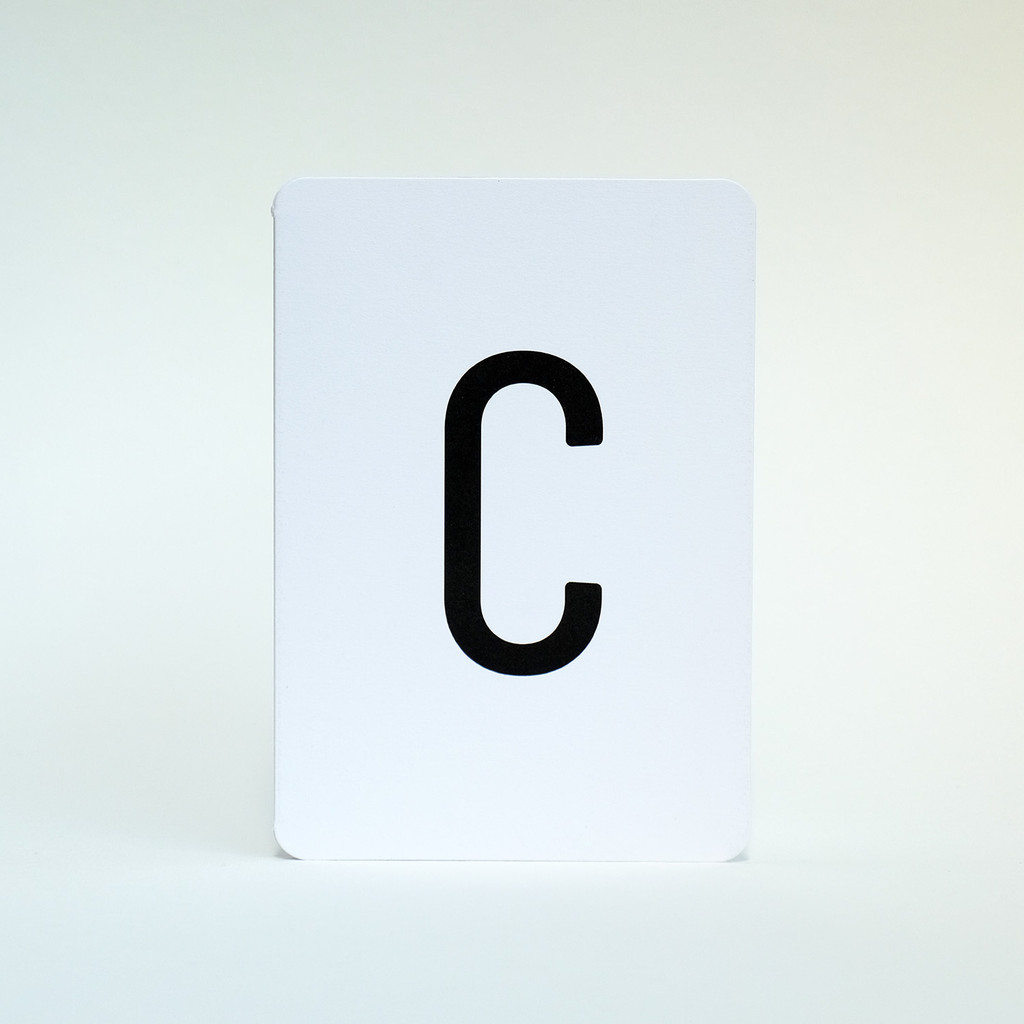 Letter C greeting card by Jacky Al-Samarraie