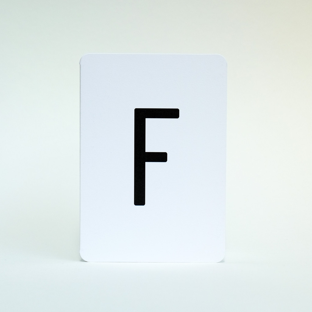 Letter F greeting card by Jacky Al-Samarraie