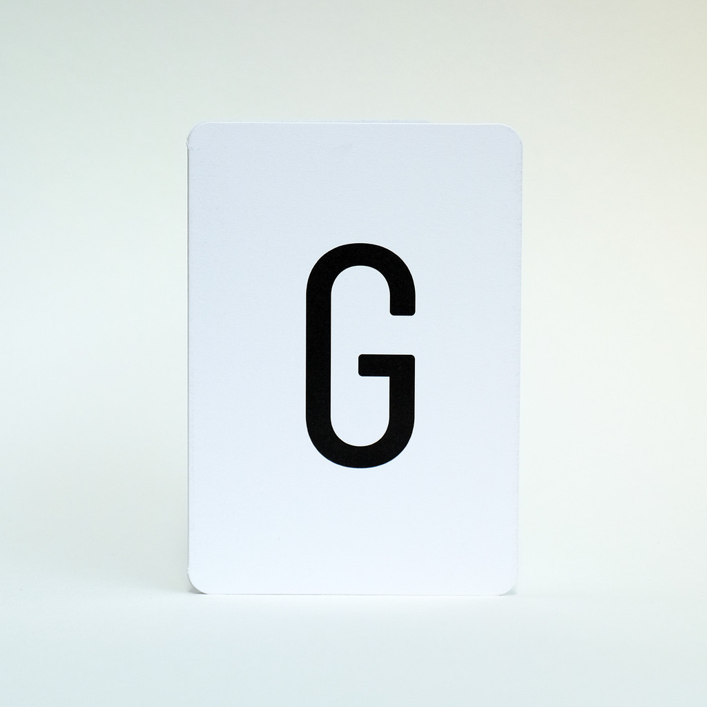 Alphabet letter G greeting card by Jacky Al-Samarraie