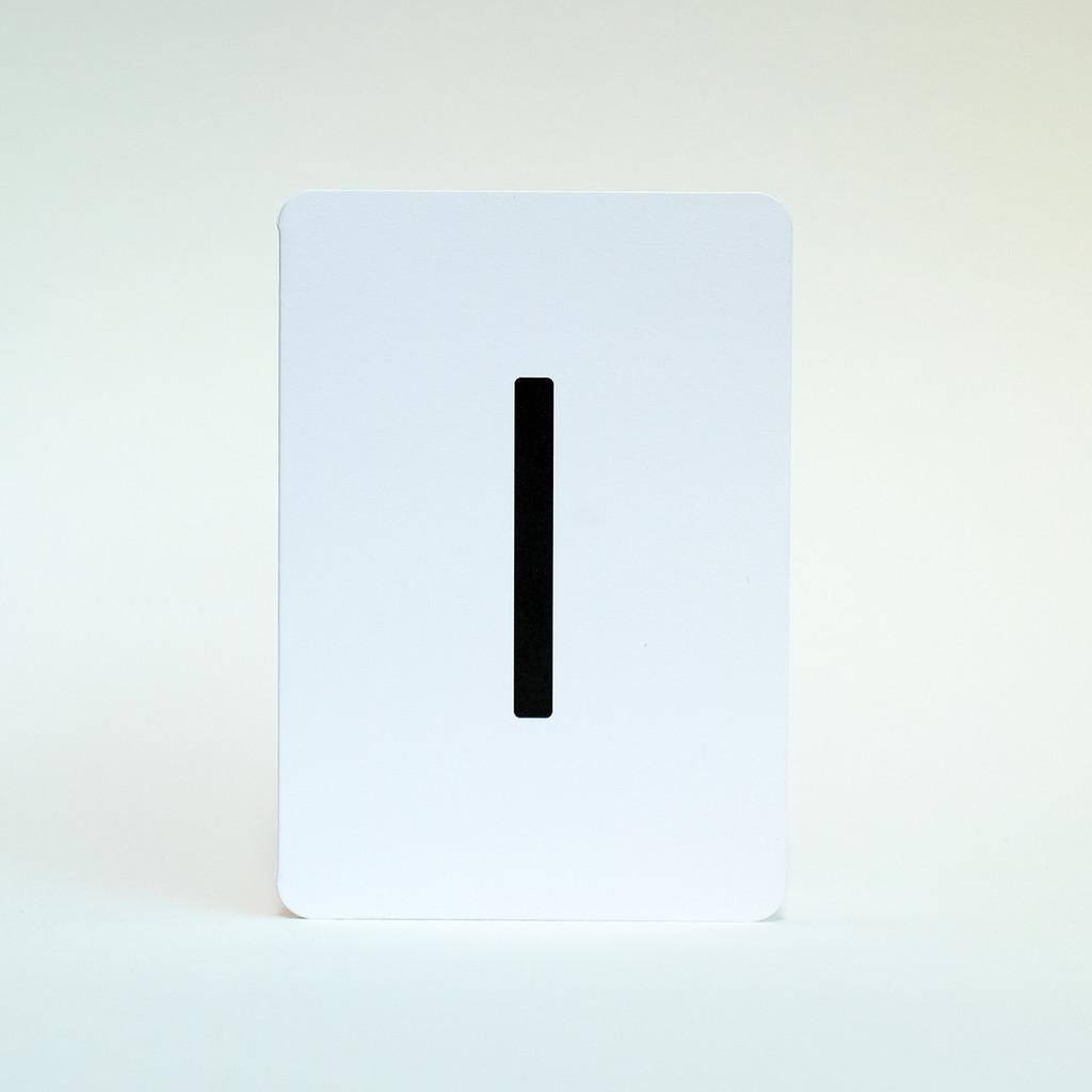 Letter I alphabet greeting card by Jacky Al-Samarraie