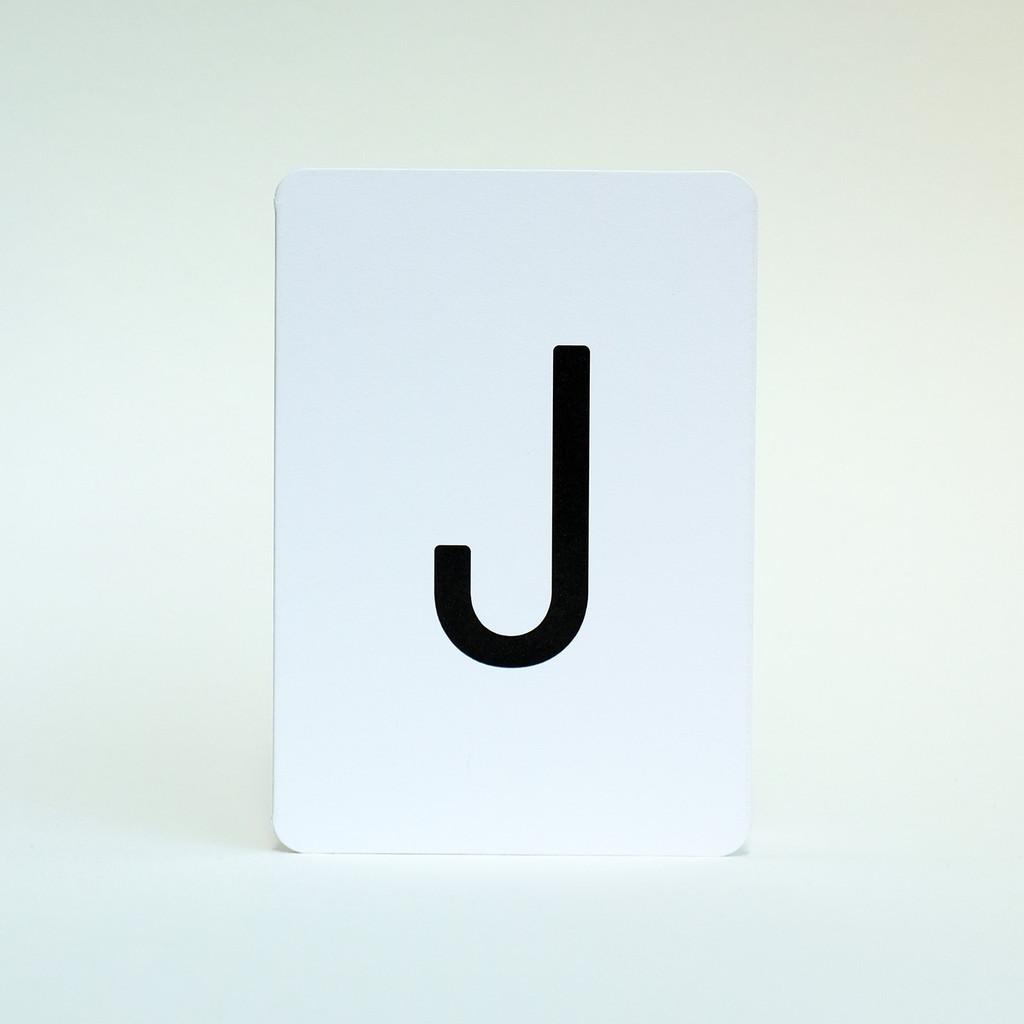Letter J alphabet greeting card by Jacky Al-Samarraie