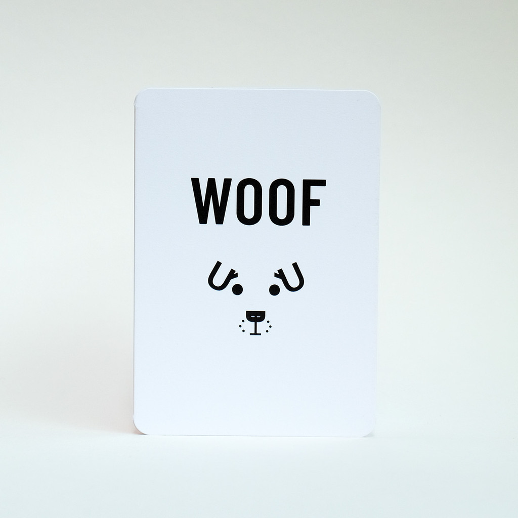 Woof dog face greeting card by Jacky Al-Samarraie
