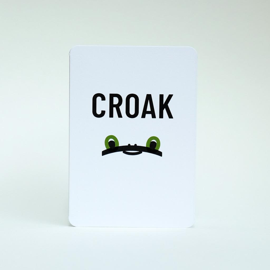 Croak Frog face greeting card design by Jacky Al-Samarraie.