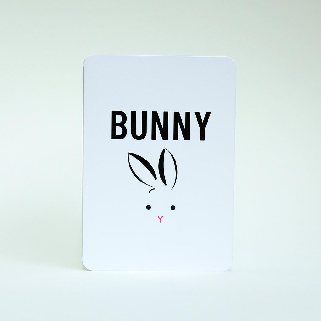 Bunny greeting card by Jacky Al-Samarraie