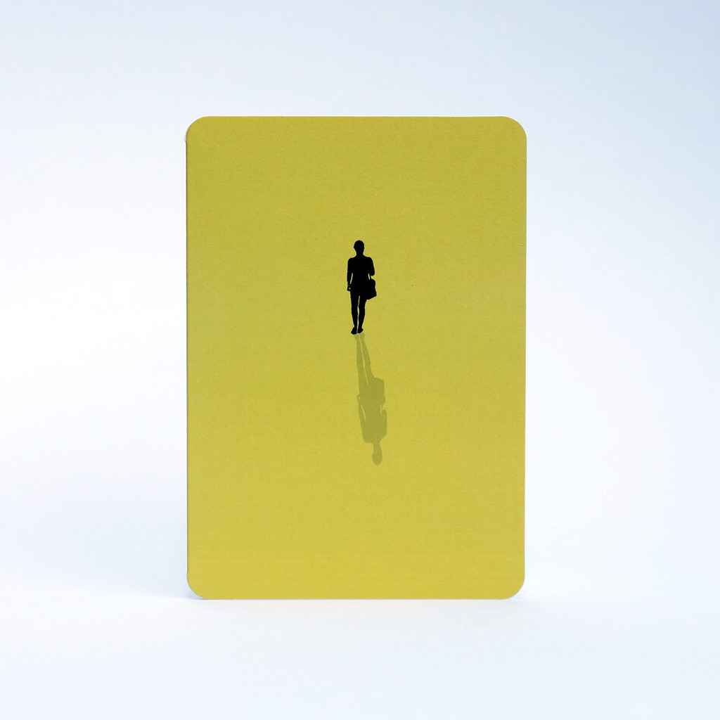 Lime green woman silhouette greeting card by Jacky Al-Samarraie