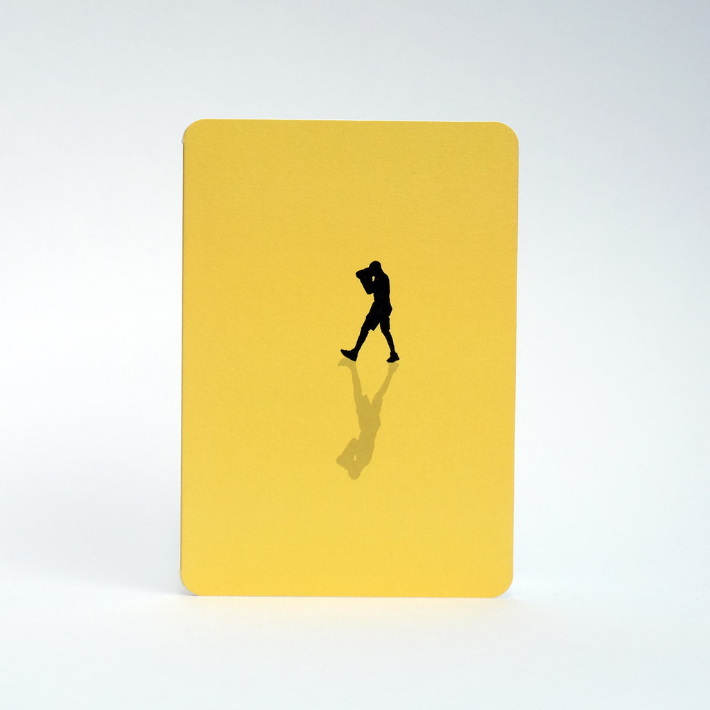 Yellow Boxer silhouette greeting card by Jacky Al-Samarraie