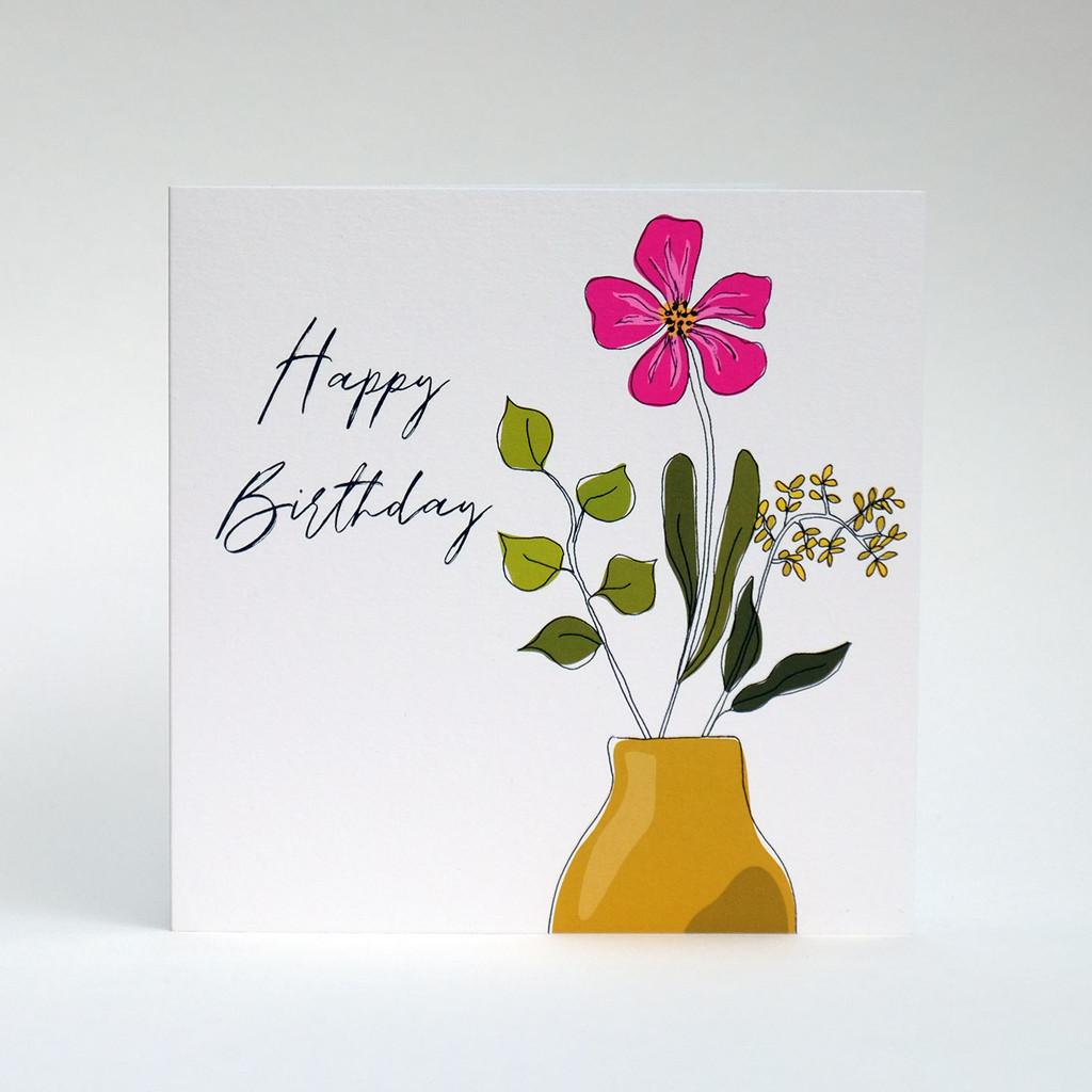 Floral Happy Birthday card with mustard vase by Jacky Al-Samarraie