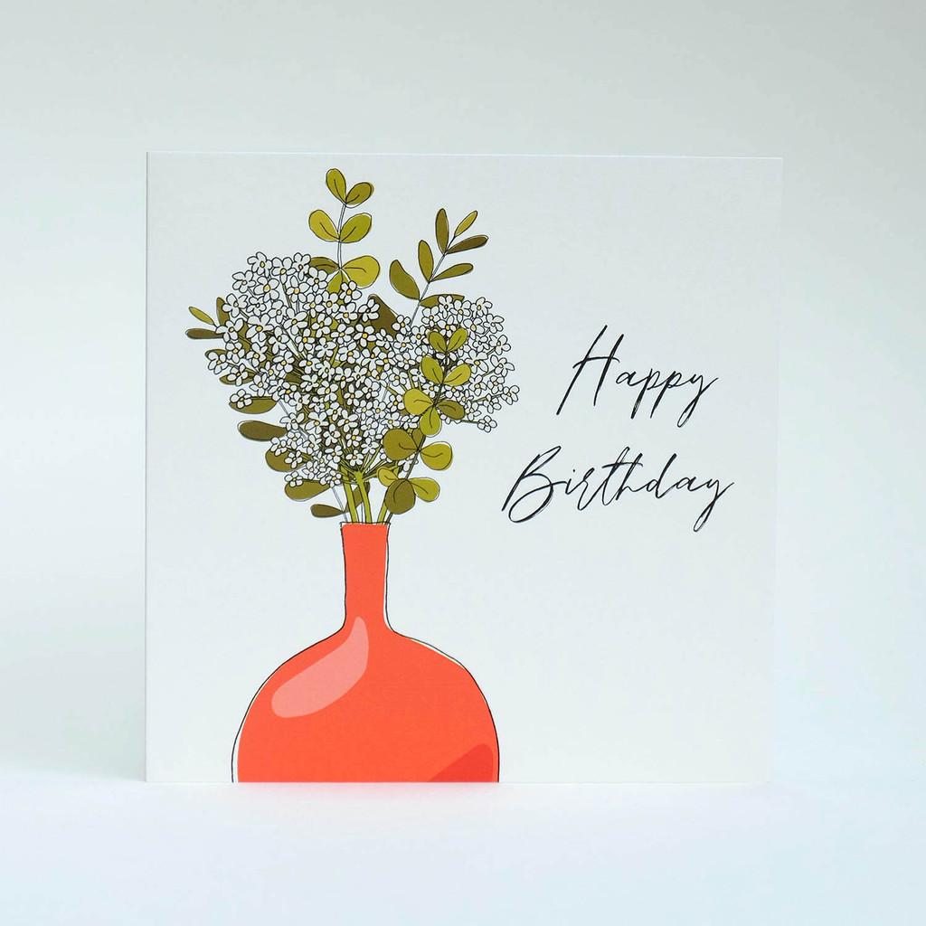 Floral Happy Birthday Card with orange vase by Jacky Al-Samarraie