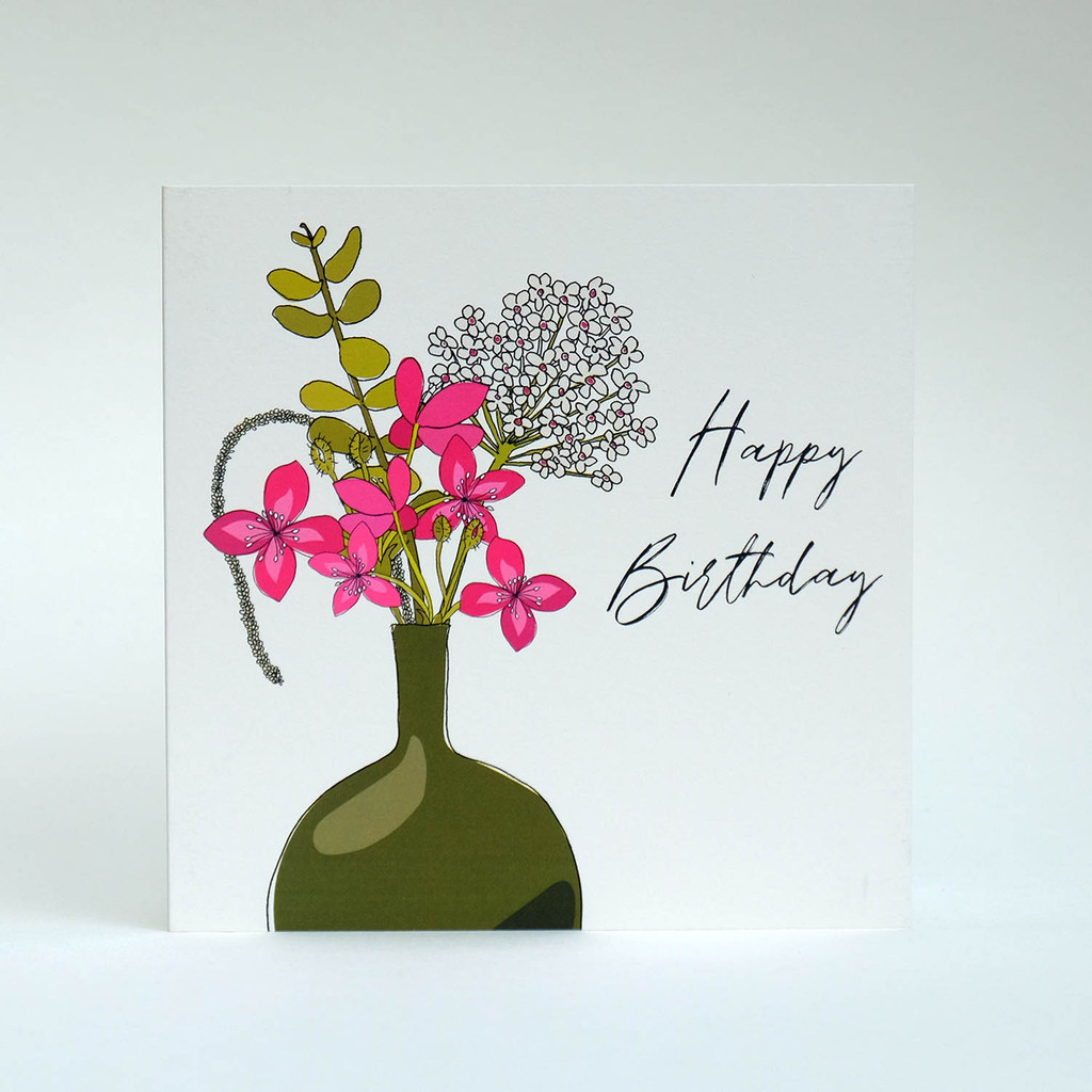Floral Happy Birthday Card with green vase by Jacky Al-Samarraie