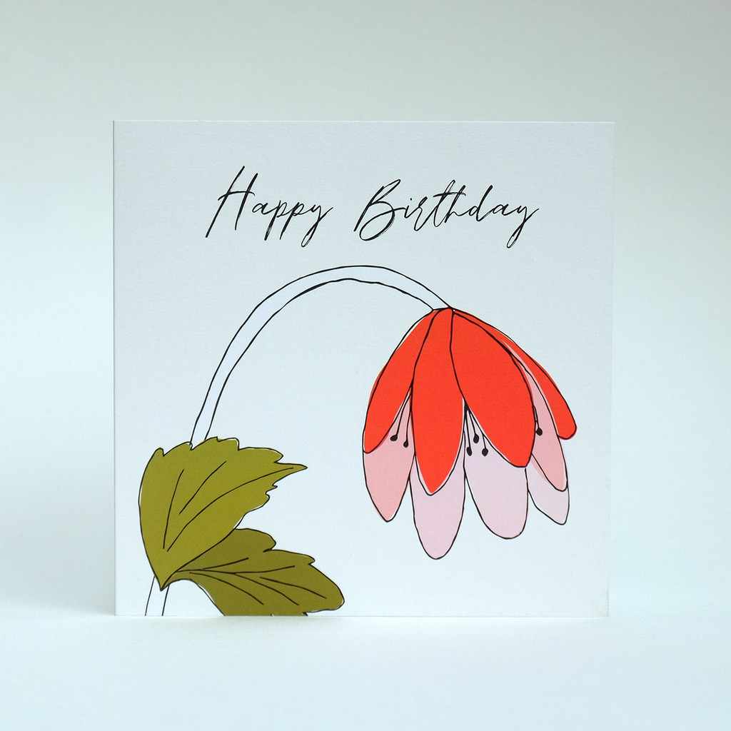 Floral Happy Birthday greeting card with orange flower by Jacky Al-Samarraie