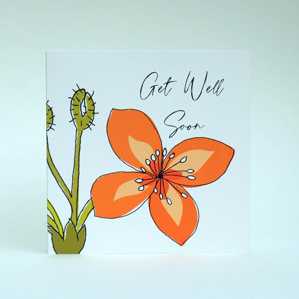 Floral Get Well greeting card with orange flower by Jacky Al-Samarraie