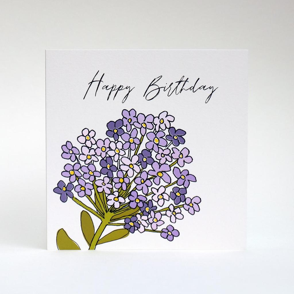 Lilac floral Happy Birthday greeting card by Jacky Al-Samarraie