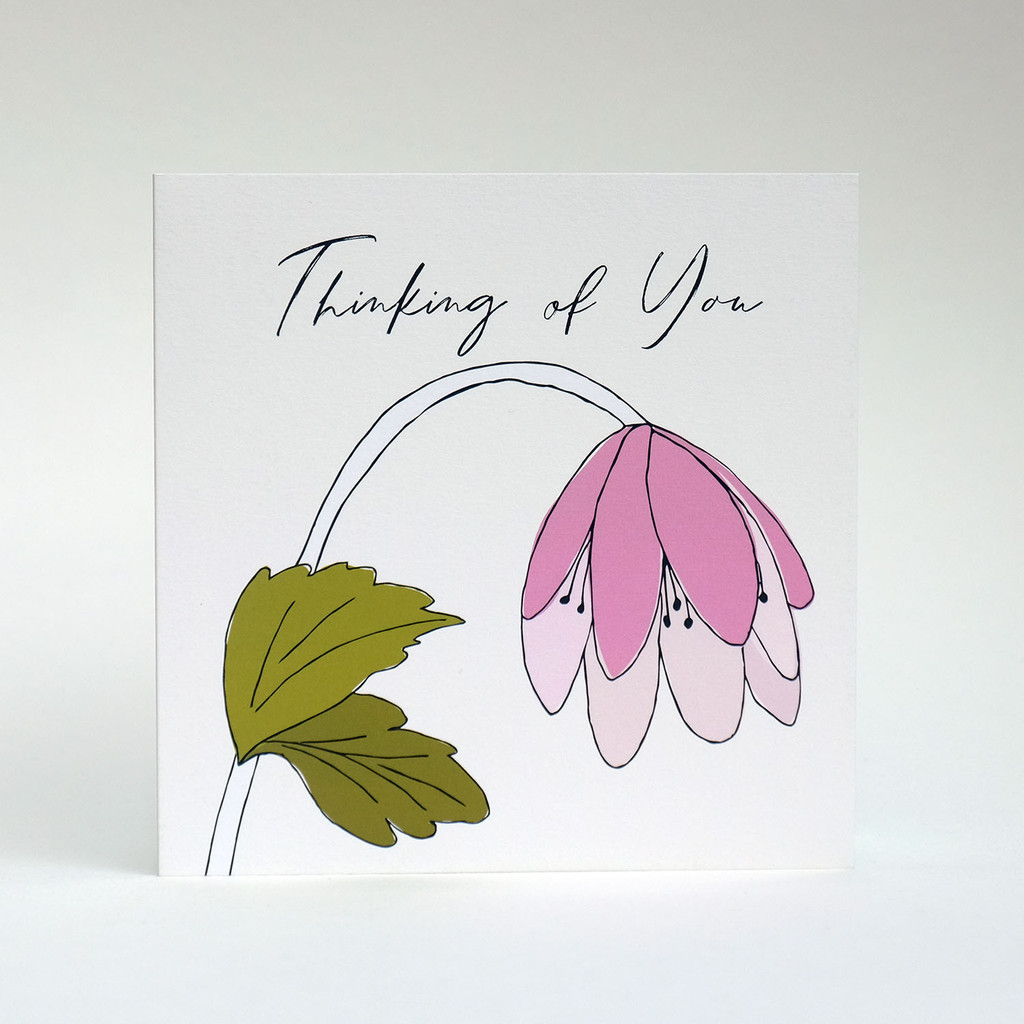 Pink floral Thinking of You greeting card by Jacky Al-Samarraie