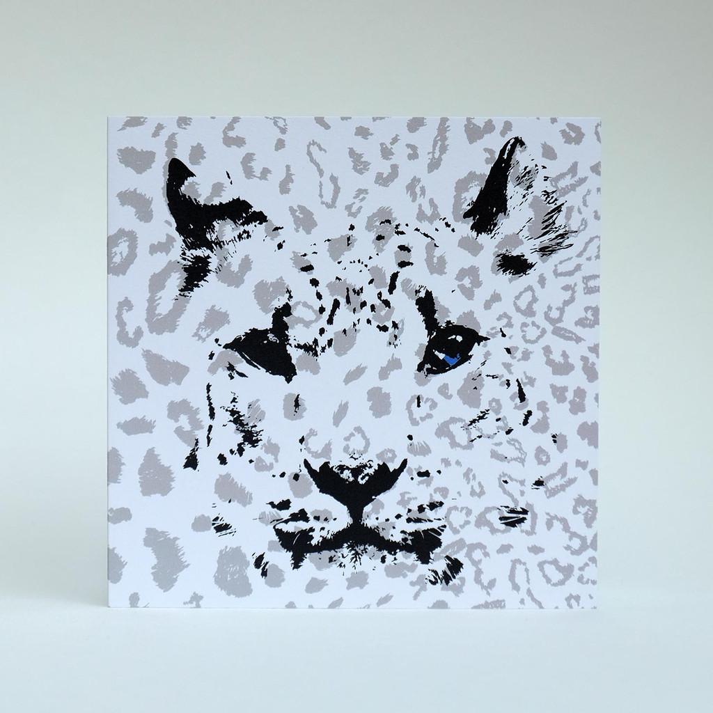 Snow Leopard greeting card by Jacky Al-Samarraie