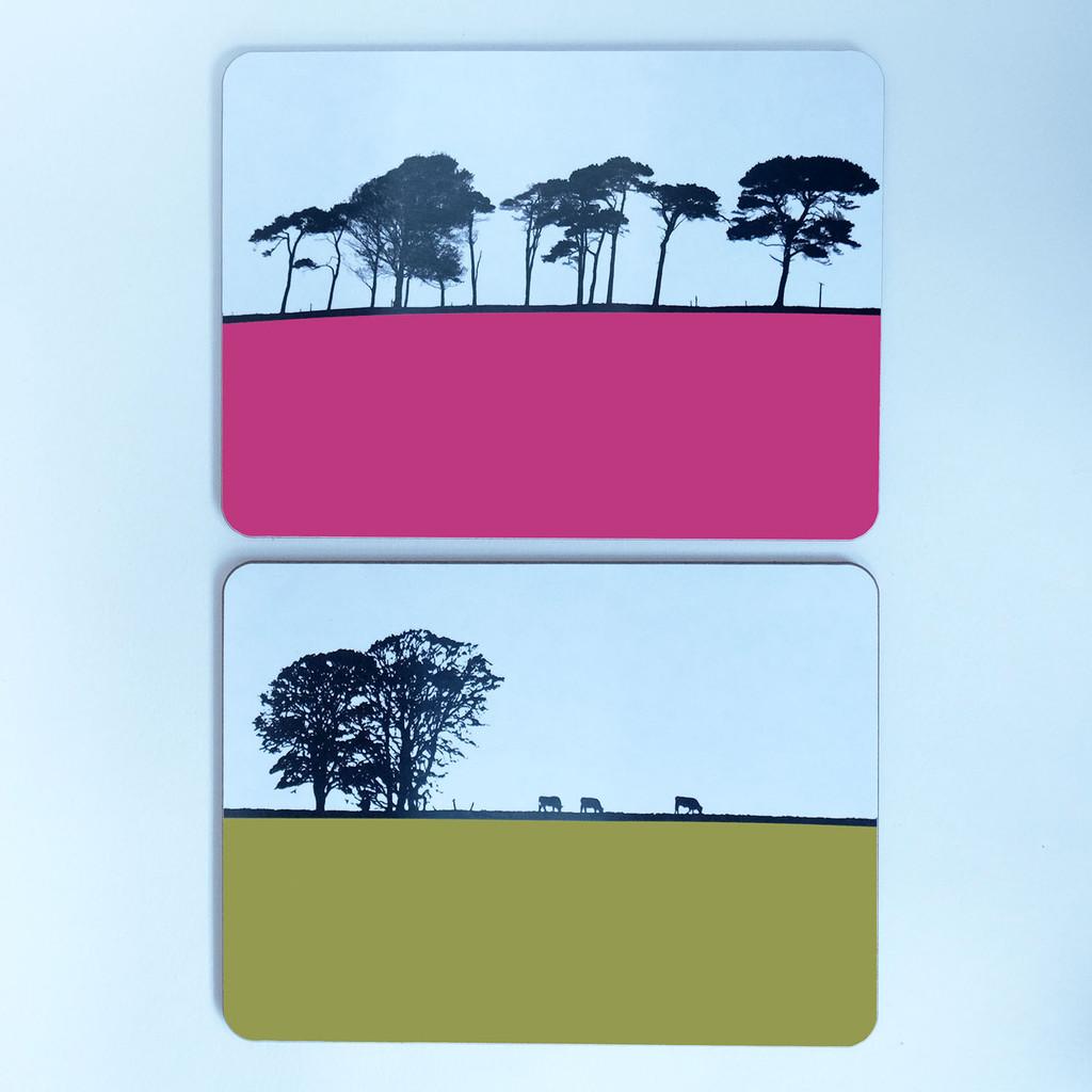 Silhouette tree landscape placemats by Jacky Al-Samarraie
