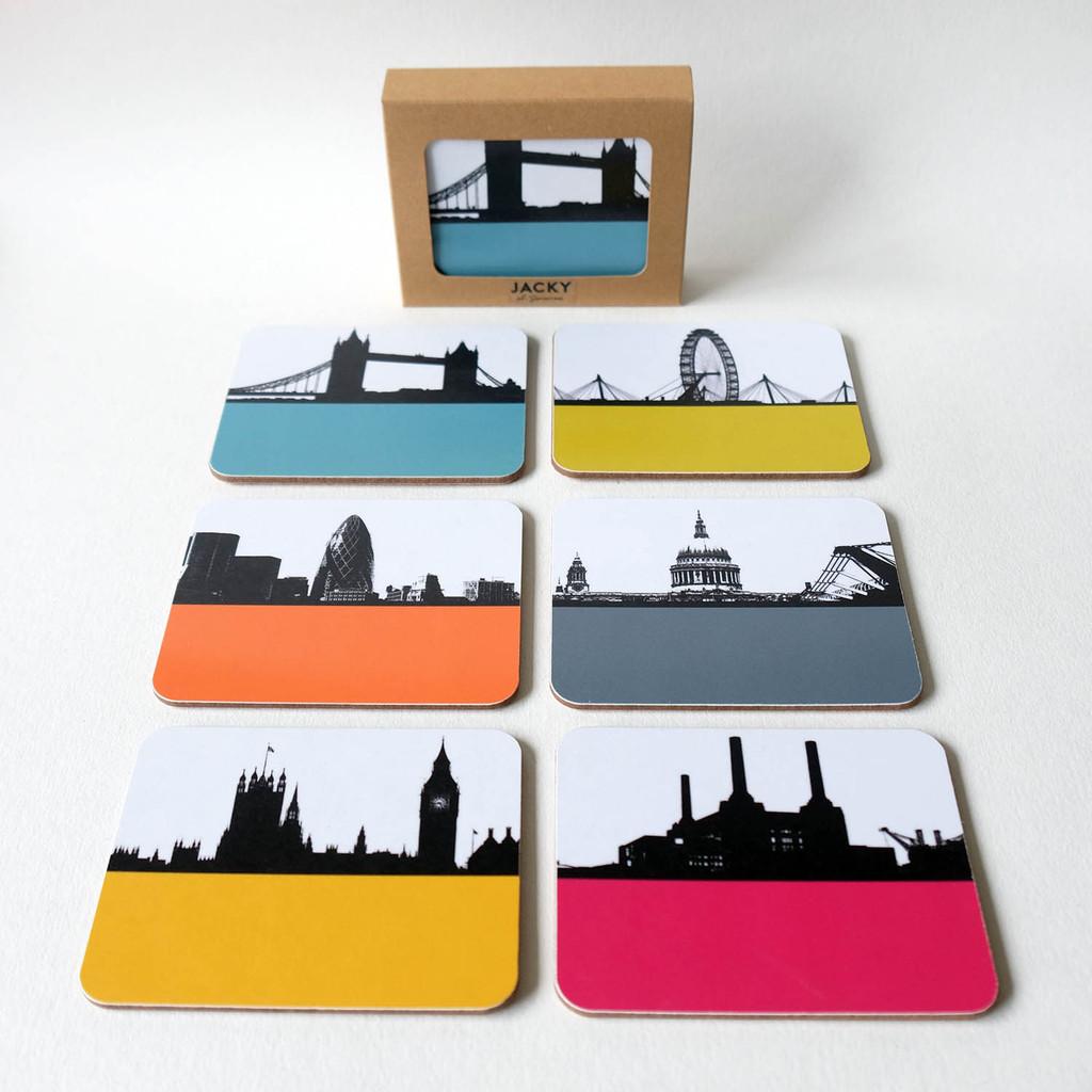 Box set of 6 London Cityscape Coasters by Jacky Al-Samarraie