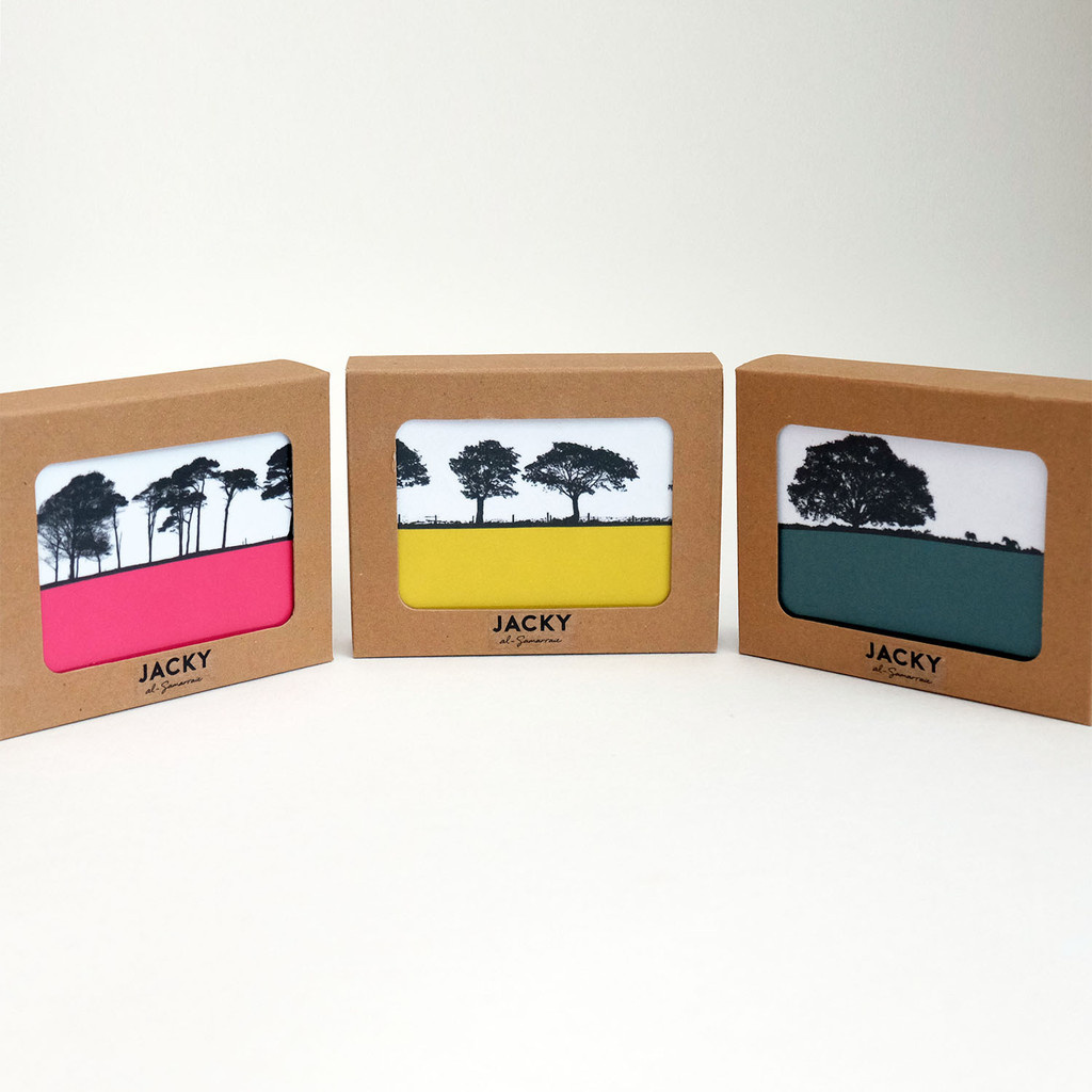 Three boxed gift sets of 6 landscape coasters by Jacky Al-Samarraie