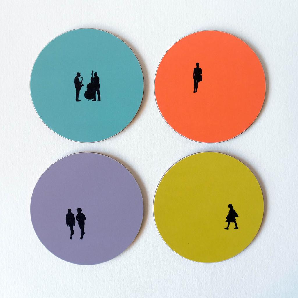 Four people silhouette melamine coasters by Jacky Al-Samarraie
