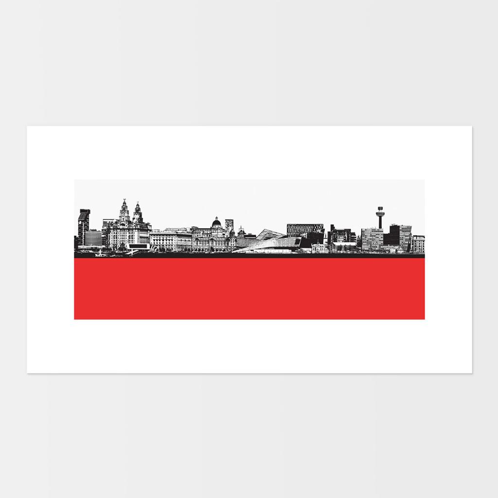 Landscape print of Liverpool city skyline from the River Mersey by designer Jacky Al-Samarraie.