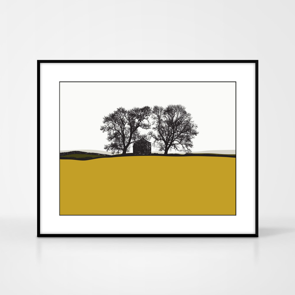 Landscape print of Conistone in the Lake District by designer Jacky Al-Samarraie, in Mustard and Green.  Shown in frame for reference.