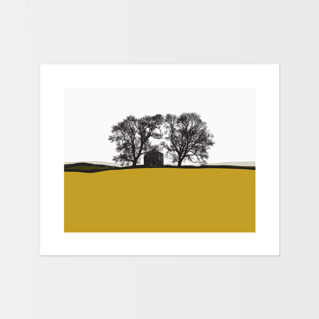 Landscape print of Conistone in the Lake District by designer Jacky Al-Samarraie, in Mustard and Green.