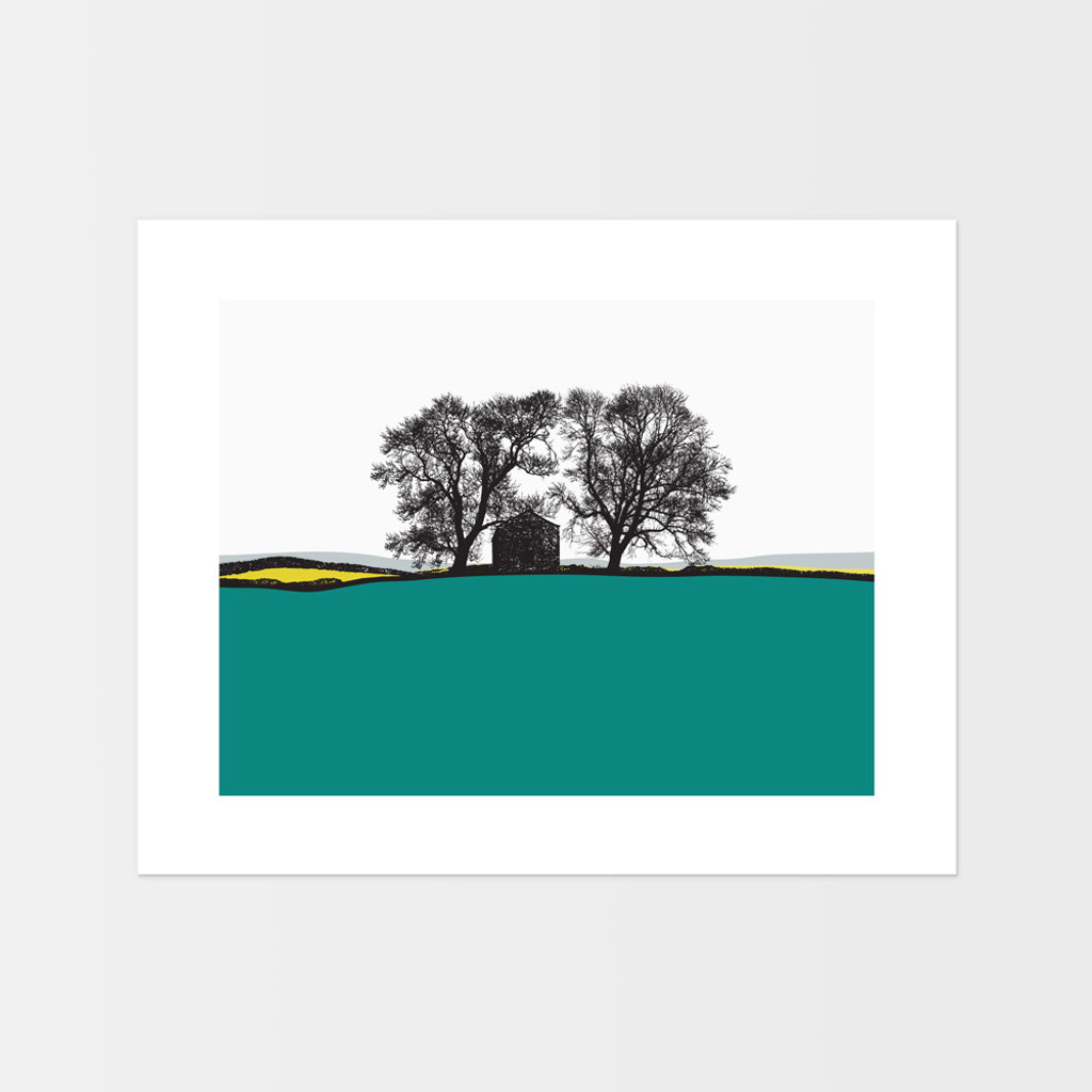 Landscape print of Conistone in the Lake District by designer Jacky Al-Samarraie, in Turquoise and Yellow.