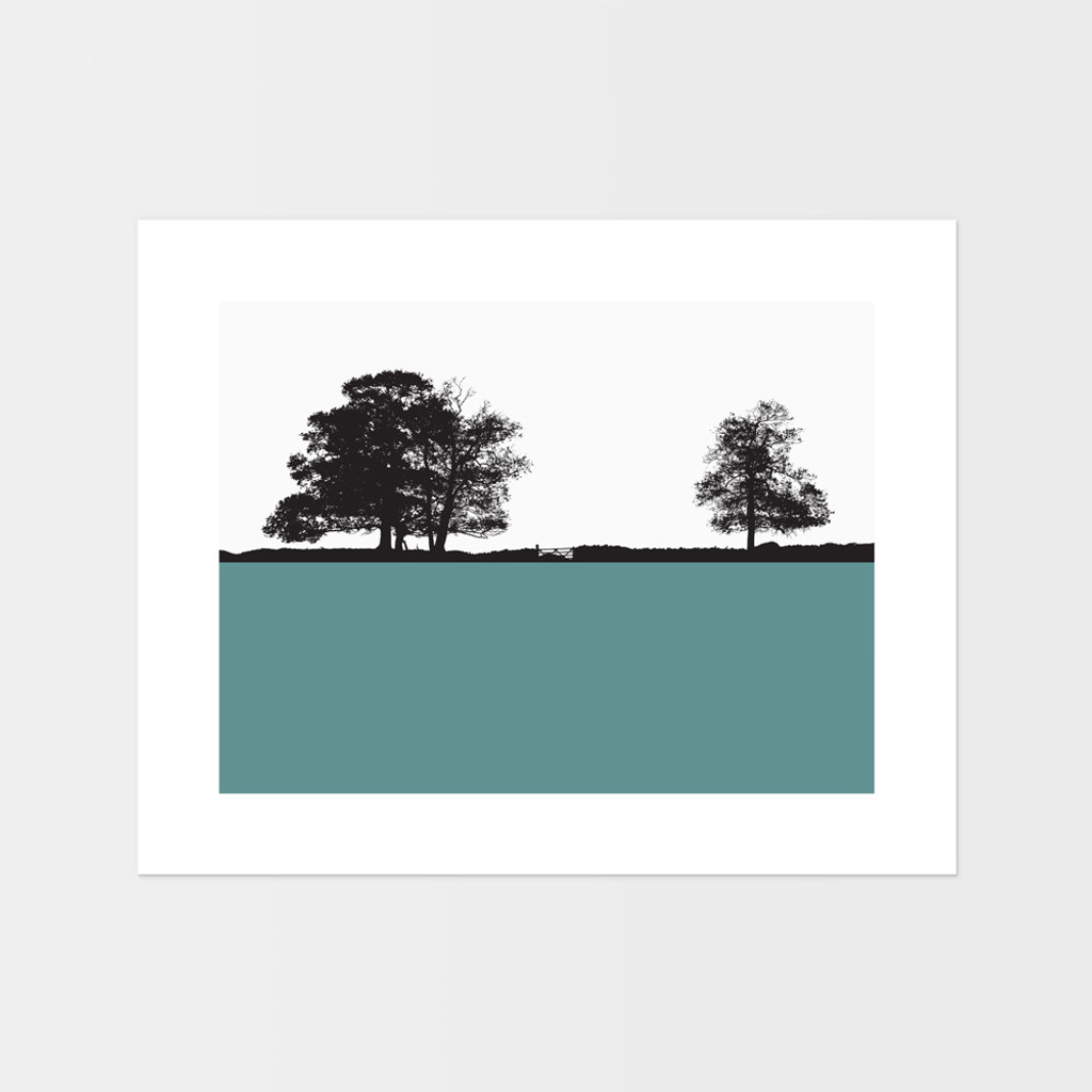 Landscape print of Windermere in the Lake District by designer Jacky Al-Samarraie, in Turquoise.