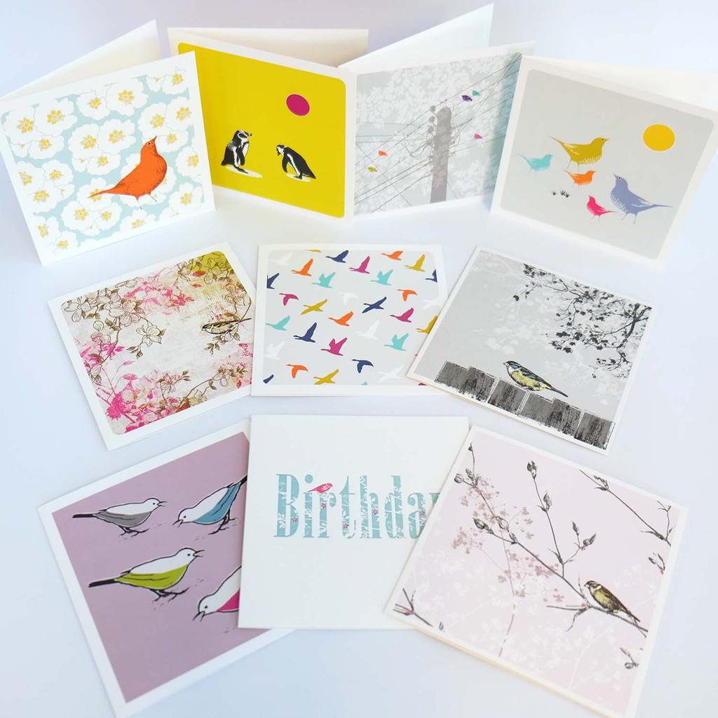 Twenty bird greeting cards by Jacky Al-Samarraie in a luxury gift box.
