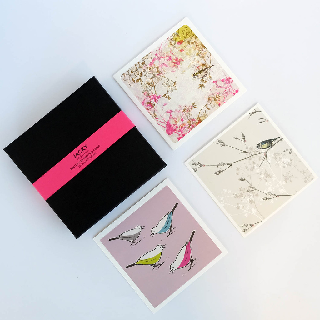 Luxury box set of 20 greeting cards featuring bird designs by Jacky Al-Samarraie