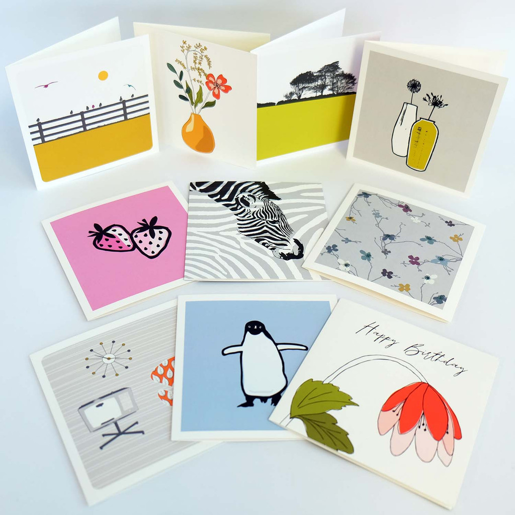 Box of 20 contemporary greeting cards by Jacky Al-Samarraie