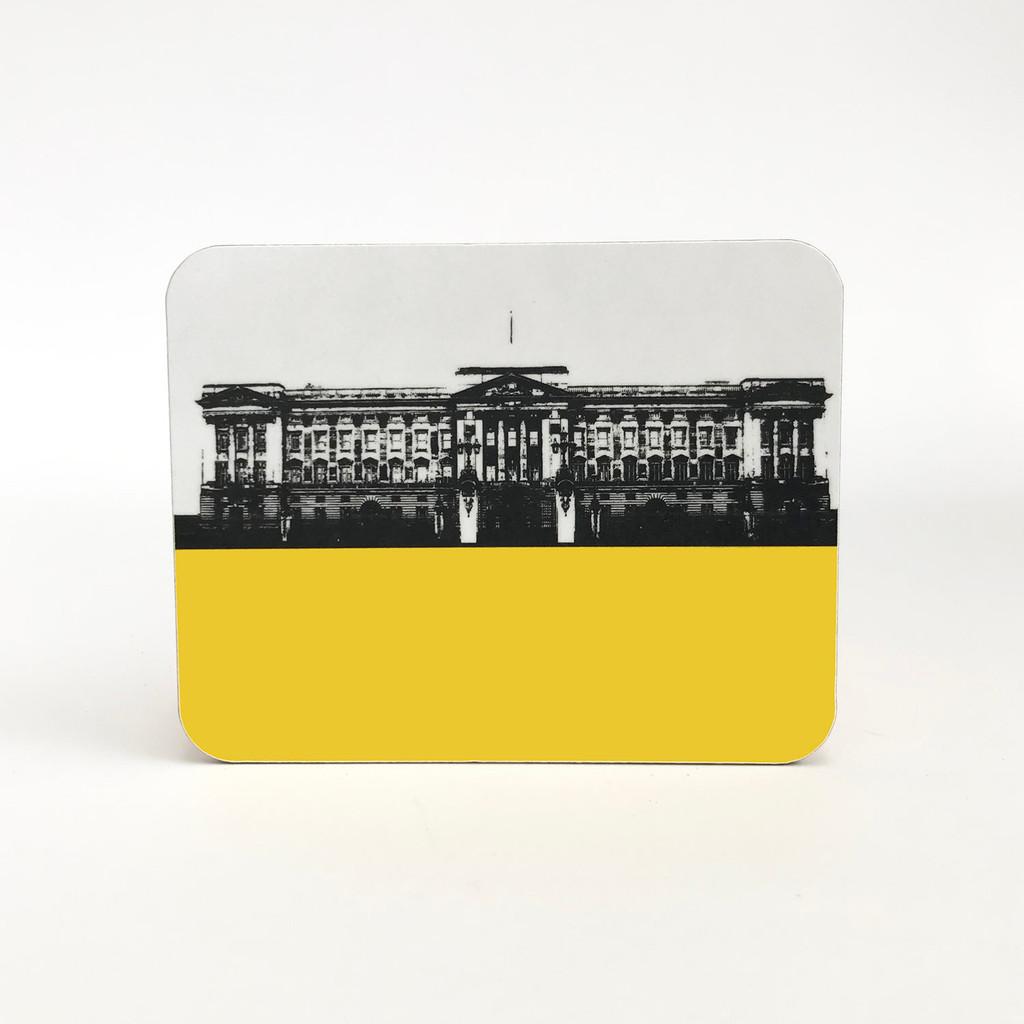 Buckingham Palace melamine coaster in yellow by Jacky Al-Samarraie